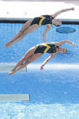DIV: World Championship 3m women's Sychronised final. Briony Cole and Sharlen Stratton (AUS) competing in the final — Stock Photo