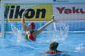 WPO: World Aquatics championship - CAN vs RSA. Hayley Duncan (RSA) defending her goal — Stock Photo