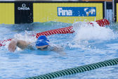 SWM: World Aquatics Championship - Mens 200m freestyle semi final. Ross Davernport (GBR) competing in the mens 200m freestyle — Stock Photo