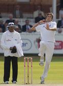 板球。英格兰 vs 孟加拉国第 2 天 1 次测试。史蒂夫 · 芬恩 — 图库照片