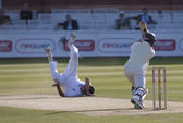 Cricket. England vs Bangladesh 1st test day 3. Steve Finn, Mohammad Ashraful — Stock Photo
