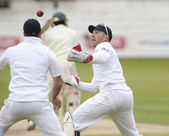 Cricket. England vs Bangladesh 1st test day 3. Matt Prior, Andrew Strauss, James Anderson, Shakib Al Hasan — Stock Photo