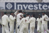 Cricket. England vs Bangladesh 1st test day 1. Alaistair Cook, Shahadat Hossai — Foto Stock
