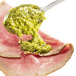 Carpaccio pesto poured on it with a spoon — Stock Photo