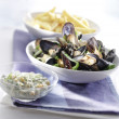 Cooked mussels served — Stock Photo