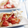 Crepes with strawberries — Stock Photo