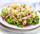 Pasta salad with avacado and mackerel — Stock Photo