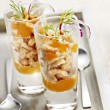 Starter of prawns with mouse served in a small glass — Stock Photo