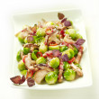 Sprouts with bacon and mushrooms — Stok fotoğraf