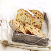 Sliced bread with raisins — Stock Photo