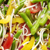 Vegtables salad with tomato, beans, yellow pepper, bean sprouts — Stock Photo