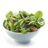 Taze tatsoi salatası pekan fındık ve kuru erik — Stok fotoğraf