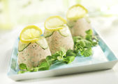 Three towers of salmon mousse — Stock Photo