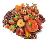 All kinds of red fruits and vegetables arranged in a group with — Stock Photo