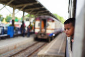 Child in train — Stock Photo