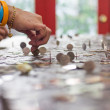 Predict,Cast lots with Thai coins. — Stock Photo