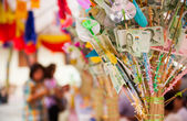 Donate Thai currently, Money to charity in buddhist way — Stock Photo
