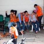 Bangkok, Thailand - October 7, 2013 : Motorcycle taxi Waiting pa — Stock Photo