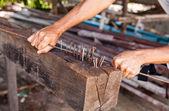 Hand's worker binding steel rod — Stock Photo