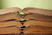 Books stacked on a shelf — Stock Photo