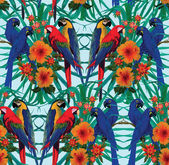 Seamless pattern with macaws and flowers. — Stock Vector