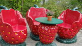 Strawberry dining room furniture — Stock Photo