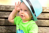 Baby in blue hat — Stock Photo