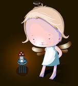 Little girl angel — Stock Vector