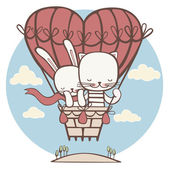 Cat and hare are flying on the big balloon in the shape of heart — Stock Photo