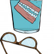 Denture and old glasses — Stock Vector