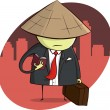 Asian Businessman on Trip — Stock Vector