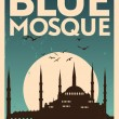 Stock Vector: Blue Mosque Vintage Poster