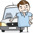 Man with Delivery Car — Stock Vector