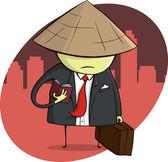 Asian Businessman on Trip — Stock Vector