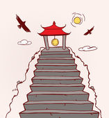 Far East Temple — Vector de stock