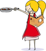 Young Girl Cooking — Vector de stock