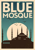 Blue Mosque Vintage Poster — Stock Vector