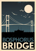 Bosphorus Bridge Vintage Poster — Stock Vector