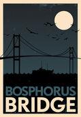 Bosphorus puente cartel vintage — Vector de stock