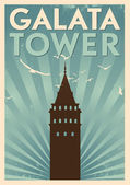 Galata Tower Vintage Poster — Stock Vector