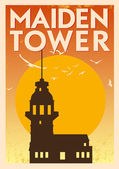 Vintage Maiden Tower Istanbul Poster — Stock Vector