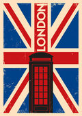 Vintage Telephone Box Poster — Stock Vector