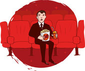 Man watching a movie — Stock Vector