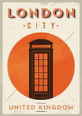 Vintage London Telephone Box Poster — Stock Vector
