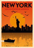 Vintage New York Poster — Stock Vector