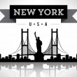 Stock Vector: New York Silhoutte with Banner