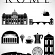 Rome Travel Icons — Stock Vector
