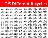 100 bycicles icons — Stockvektor