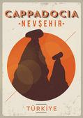 Vintage Cappadocia Poster Design — Stock Vector