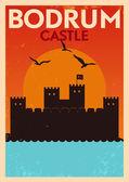 Vintage Bodrum Castle Poster — Stock Vector
